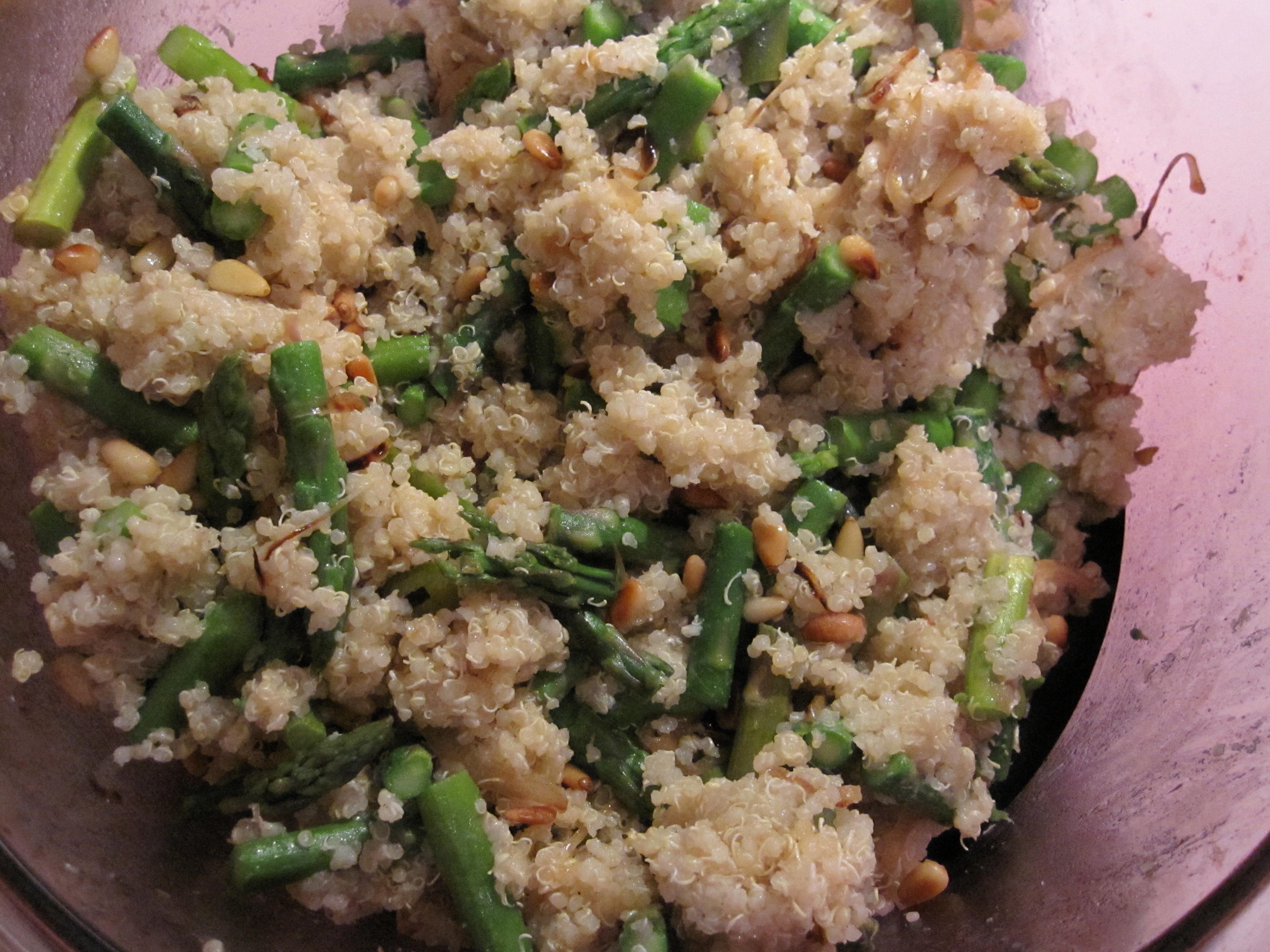 ... asparagus season! I saw this recipe for Tabasco and Asparagus Quinoa
